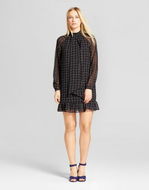 photo Bow Tie Mini Dress by Who What Wear, color Black - Image 1