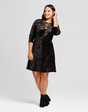 photo Plus Size Strappy Crushed Velvet Skater A-Line Dress by No Comment, color Black - Image 1