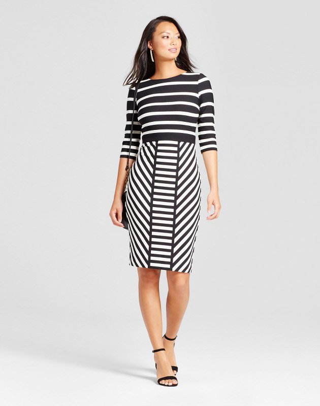 photo Striped Midi Sheath Scuba Dress by Melonie T, color Black/Beige - Image 1