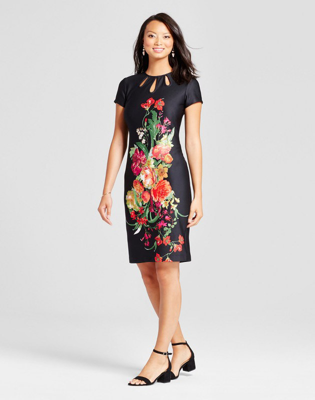 photo Floral Midi Sheath Scuba Dress with Cut Outs by Melonie T, color Multi - Image 1