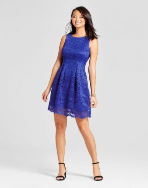 photo Fit and Flare Lace Tank Dress by Melonie T, color Cobalt Blue - Image 1