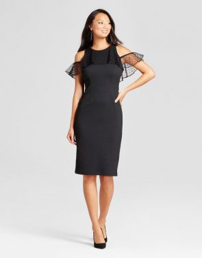 photo Knit Sheath Dress with Mesh Flutter Sleeve by Melonie T, color Black - Image 1