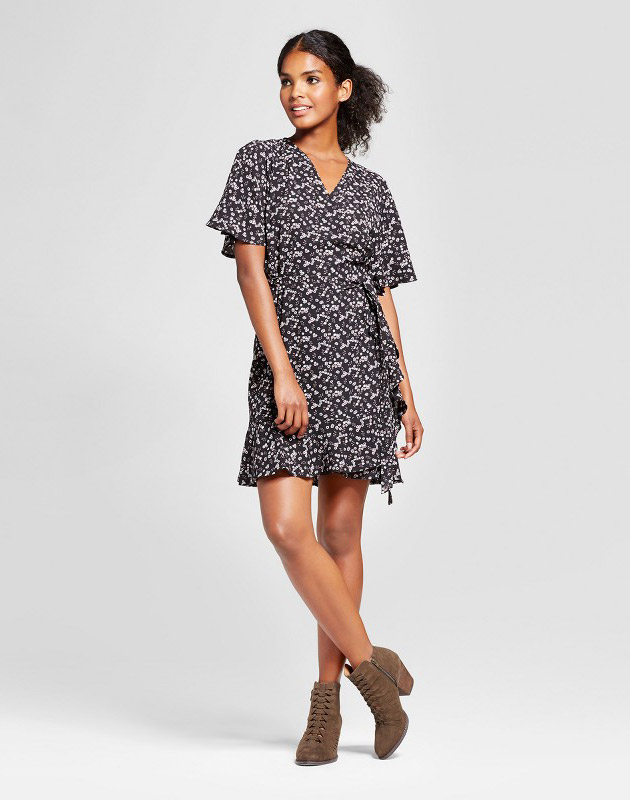 photo Ruffle Hem Floral Wrap Dress by K by Kersh, color Black - Image 1