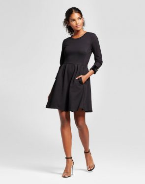 photo Velvet Cuff Fit & Flare Dress by K by Kersh, color Black - Image 1