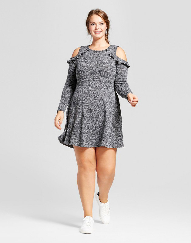 photo Plus Size Long Sleeve Cold Shoulder Skater A-Line Dress by No Comment, color Grey - Image 1
