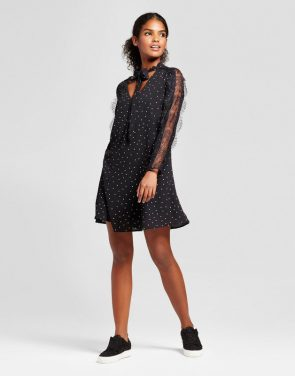 photo Printed Lace Panel Sleeve Tie Neck Shift Dress by K by Kersh, color Black - Image 1