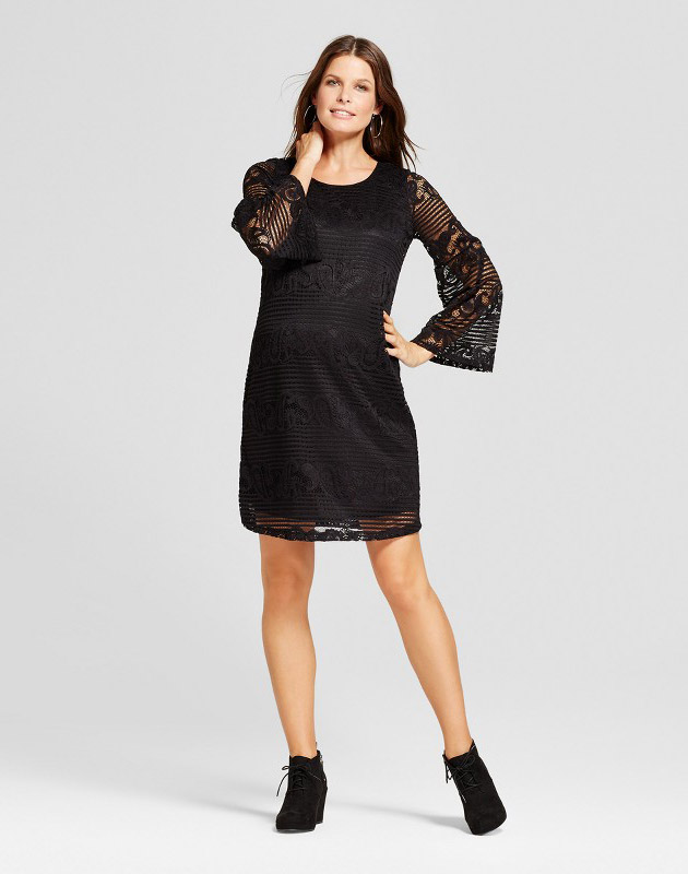 photo Maternity Long Bell Sleeve Crochet Dress by MaCherie, color Black - Image 1