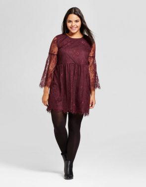 photo Plus Size Scallop Lace A-Line Dress by No Comment, color Purple - Image 1