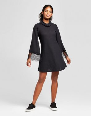 photo Lace Bell Sleeve Sweater Dress by Vanity Room, color Black - Image 1