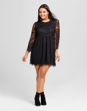 photo Plus Size Scallop Lace A-Line Dress by No Comment, color Black - Image 1