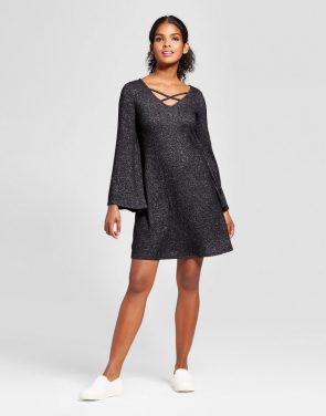photo Criss Cross Neck Swing Dress by Vanity Room, color Black - Image 1