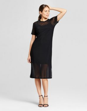photo Mesh Midi Dress with Slip by Loramendi, color Black - Image 1