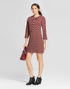 photo Tie Neck Printed Shift Dress by Loramendi, color Red Combo - Image 1