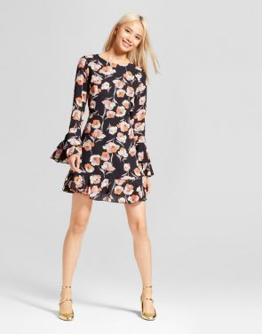 photo Tiered Ruffle Cuff Mini Dress by Who What Wear, color Black Floral - Image 1