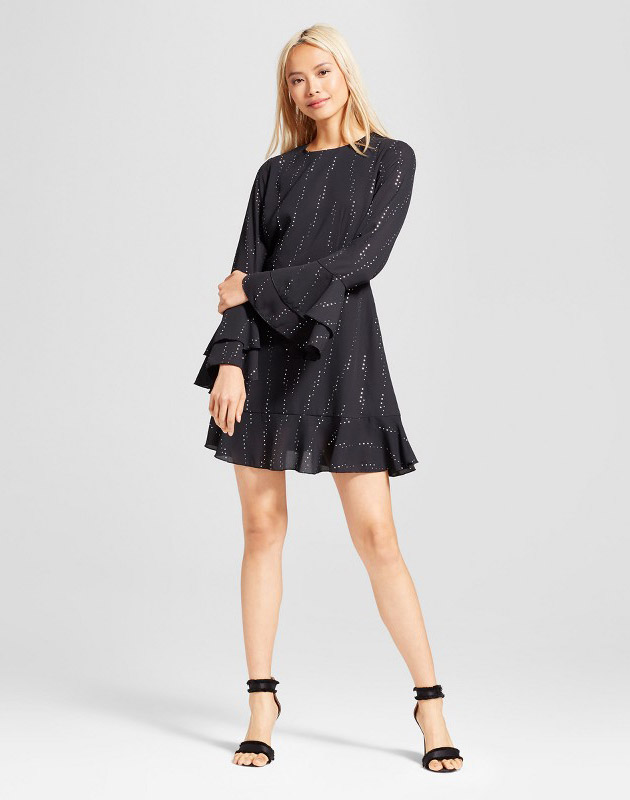 photo Tiered Ruffle Cuff Mini Dress by Who What Wear, color Black/Silver Polka Dot - Image 1