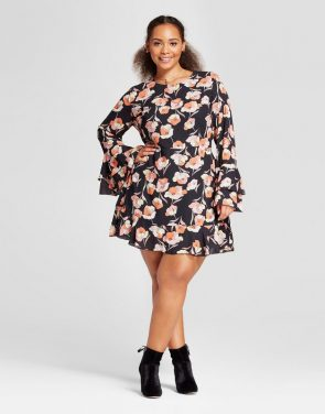 photo Plus Size Tiered Ruffle Cuff Mini Dress by Who What Wear, color Black Floral - Image 1