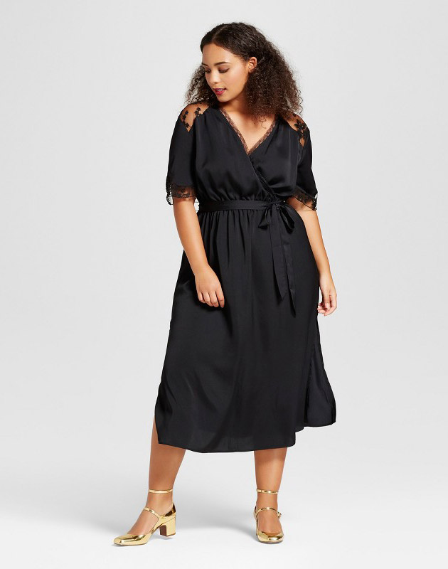 photo Plus Size Satin and Lace Midi Dress by Who What Wear, color Black - Image 1