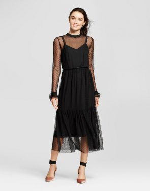photo Fabric Mix Midi Dress by Who What Wear, color Black - Image 1