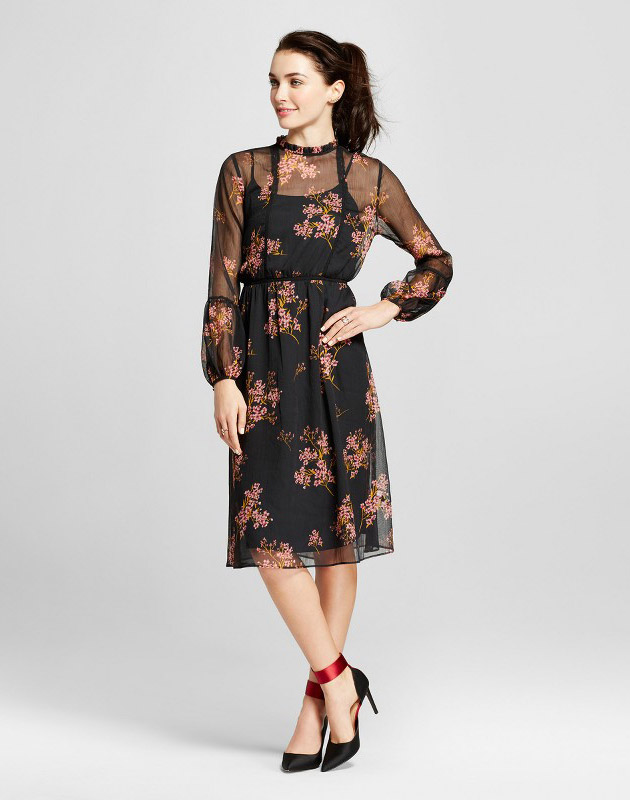 photo Lace Trim Midi Dress by Who What Wear, color Black Floral - Image 1