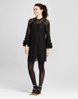 photo Lace Shift Dress by Who What Wear, color Black - Image 1