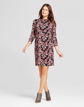 photo Maternity 3/4 Sleeve Printed Mock Neck Dress by MaCherie, color Multi - Image 1