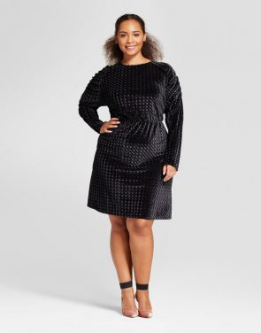 photo Plus Size Puff Sleeve Velvet Mini Dress by Who What Wear, color Black - Image 1