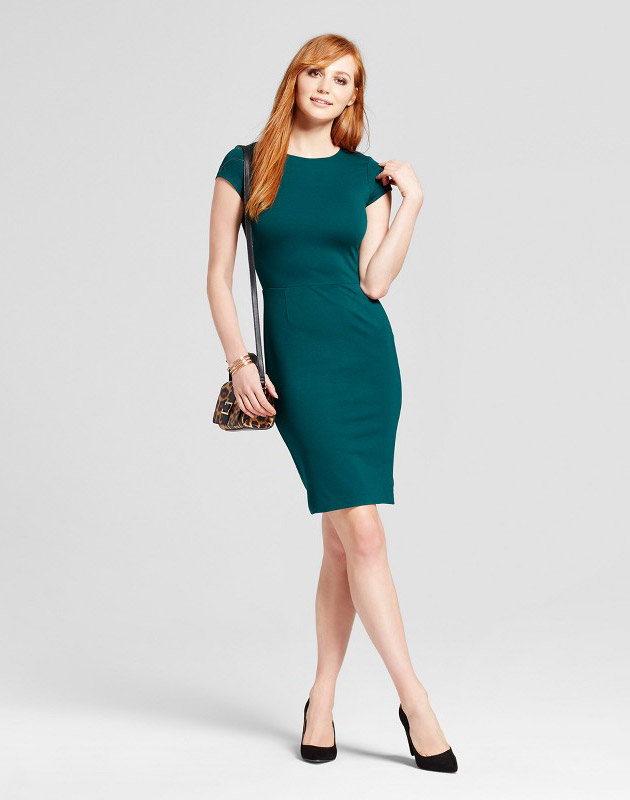 photo Ponte Cap Sleeve Sheath Dress by Necessary Objects, color Green - Image 1