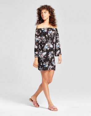 photo Floral Off the Shoulder Bell Sleeve Dress by Necessary Objects, color Multi - Image 1