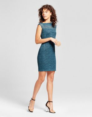 photo Lace Sheath Dress by Necessary Objects, color Blue Teal - Image 1