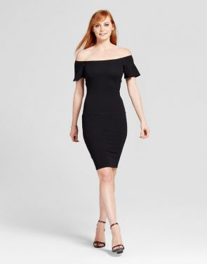 photo Off the Shoulder Midi Bodycon Dress by Necessary Objects, color Black - Image 1