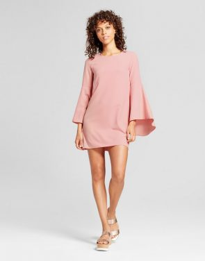 photo Woven Waterfall Sleeve Dress by Necessary Objects, color Pink - Image 1