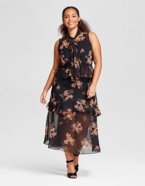 photo Plus Size Tiered Ruffle Midi Dress by Who What Wear, color Black Floral Pink - Image 1