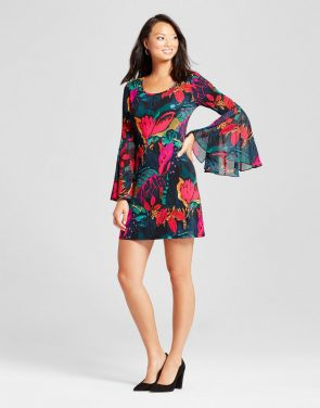 photo Floral Printed Bell sleeve Shift Dress by Chiasso, color Multi - Image 1