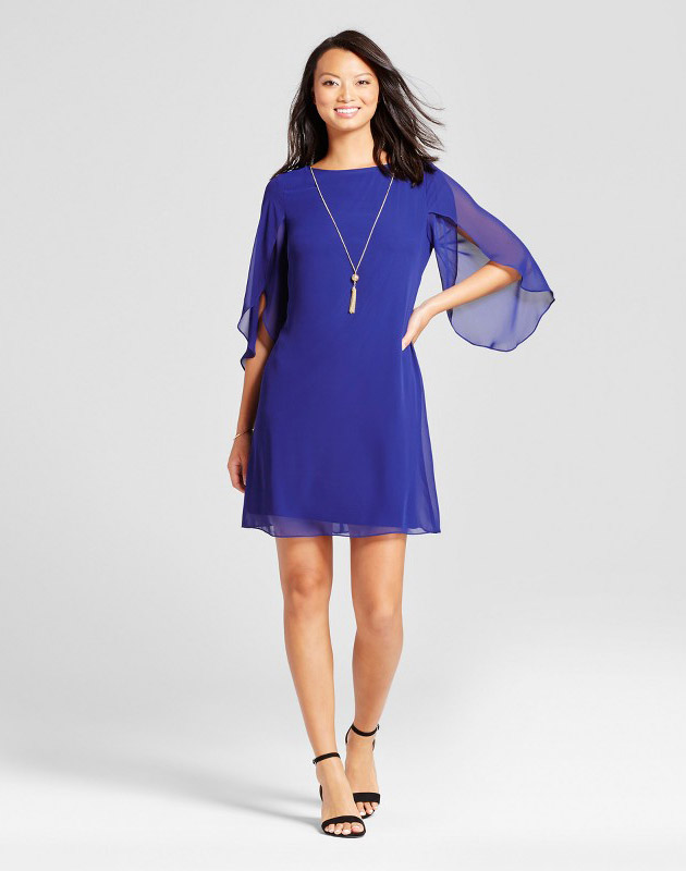 photo Woven Dress with Chiffon Sleeve and Necklace by Chiasso, color Cobalt - Image 1