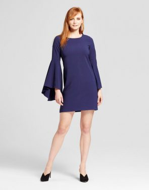 photo Woven Waterfall Sleeve Dress by Necessary Objects, color Navy - Image 1