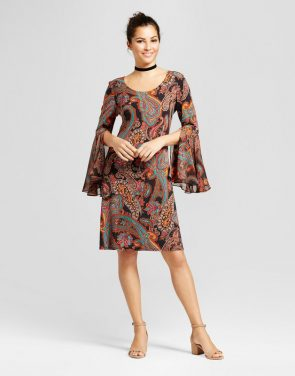 photo Printed Shift Dress with Woven Trumpet Sleeve by Chiasso, color Rust Combo - Image 1