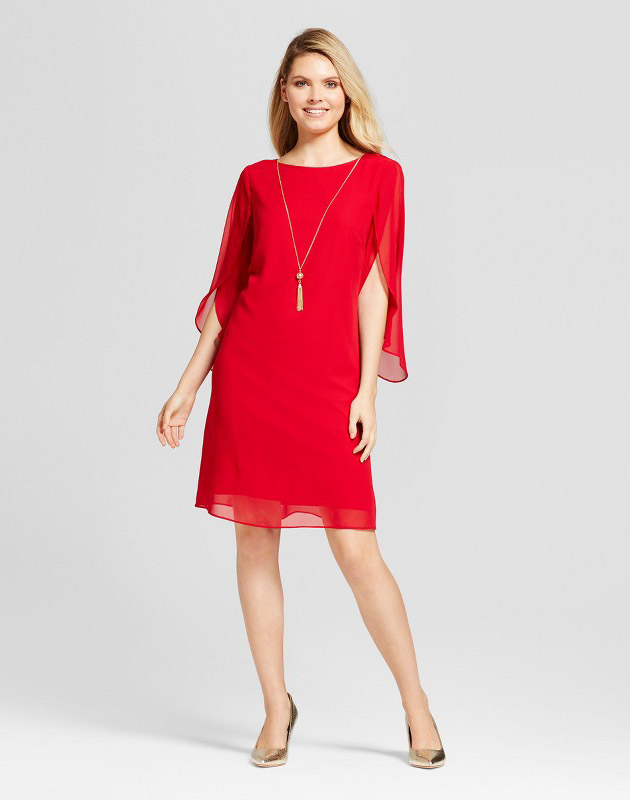 photo Chiffon Sleeve Shift Dress with Necklace by Chiasso, color Red - Image 1