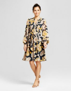 photo Floral Printed Pintuck Shirt Dress with Chiffon Sleeve by Chiasso, color Multi - Image 1