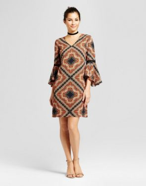 photo Geo Printed Shift Dress with Crochet Sleeve Detail by Chiasso, color Black Coral - Image 1