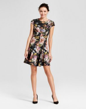 photo Floral Printed Fit and Flare Dress by Melonie T, color Black Multi - Image 1