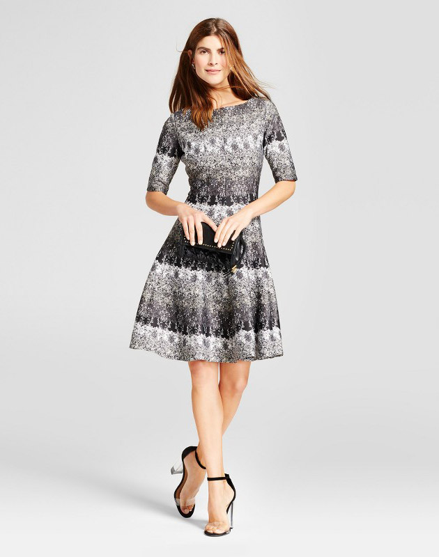 photo Printed Elbow Sleeve Scuba Dress by Melonie T, color Black/Ivory - Image 1