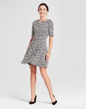 photo Knit Jacquard Printed Fit and Flare Dress by Melonie T, color Black/Ivory - Image 1