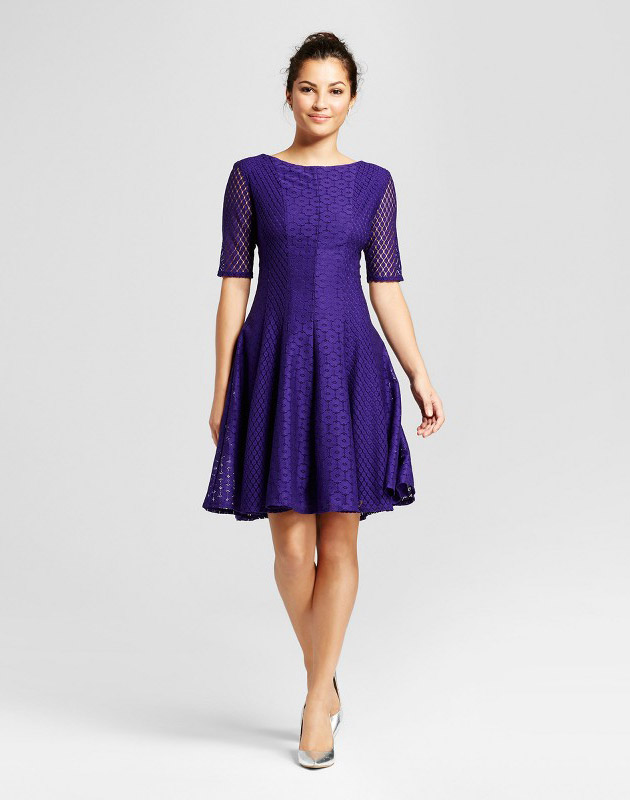 photo Printed Lace Fit and Flare Dress by Melonie T, color Purple - Image 1