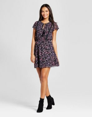 photo Floral Lace Trim Dress by Layered with Love, color Black Pink - Image 1