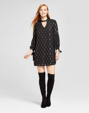 photo Choker Neck Lurex Printed Shift Dress by Eclair, color Black - Image 1