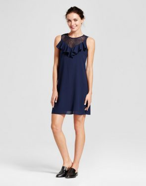 photo Ruffle Lace Trapeze Dress with Illusion Neck by Melonie T, color Navy - Image 1