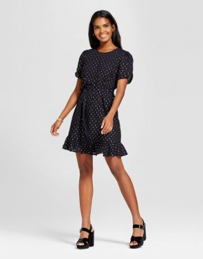 photo Foil Sparkle Dot Tie Waist Dress by Eclair, color Navy - Image 1