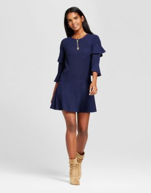 photo Ribbed Ruffle Sleeve Sweater Dress by Eclair, color Navy - Image 1