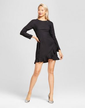 photo Ruffle Hem Dress by Eclair, color Black - Image 1