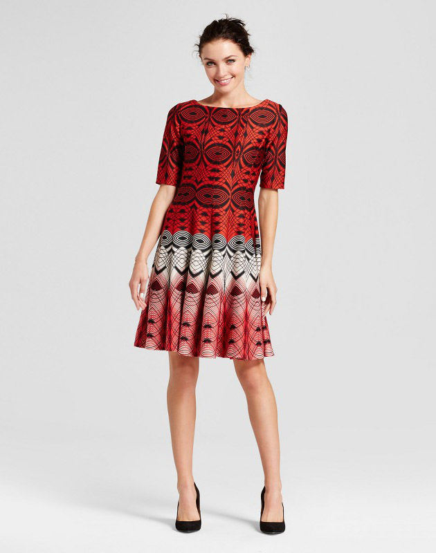photo Printed Elbow Sleeve Fit and Flare Dress by Melonie T, color Red Combo - Image 1